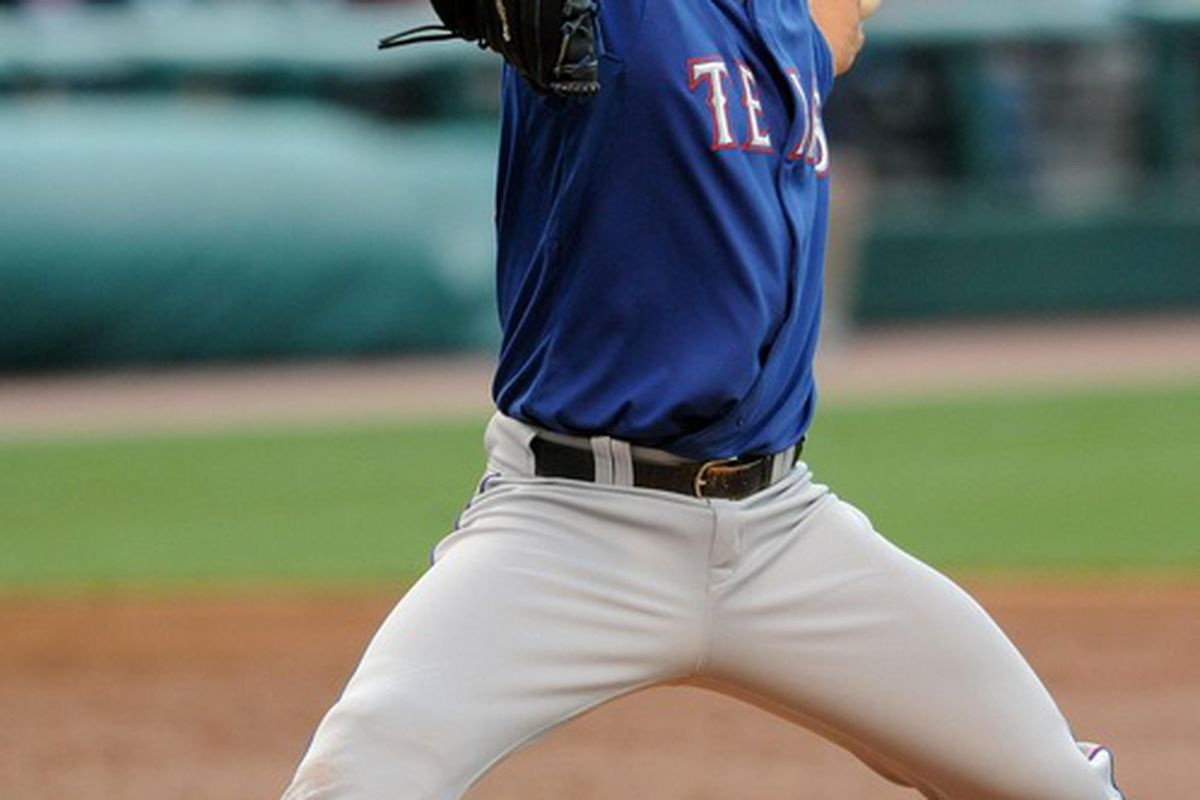 Derek Holland needs only to figure out right-handed hitters and lose the smarmy mustache to become a solid fantasy option again.  Mandatory Credit: Eric P. Mull-USPRESSWIRE
