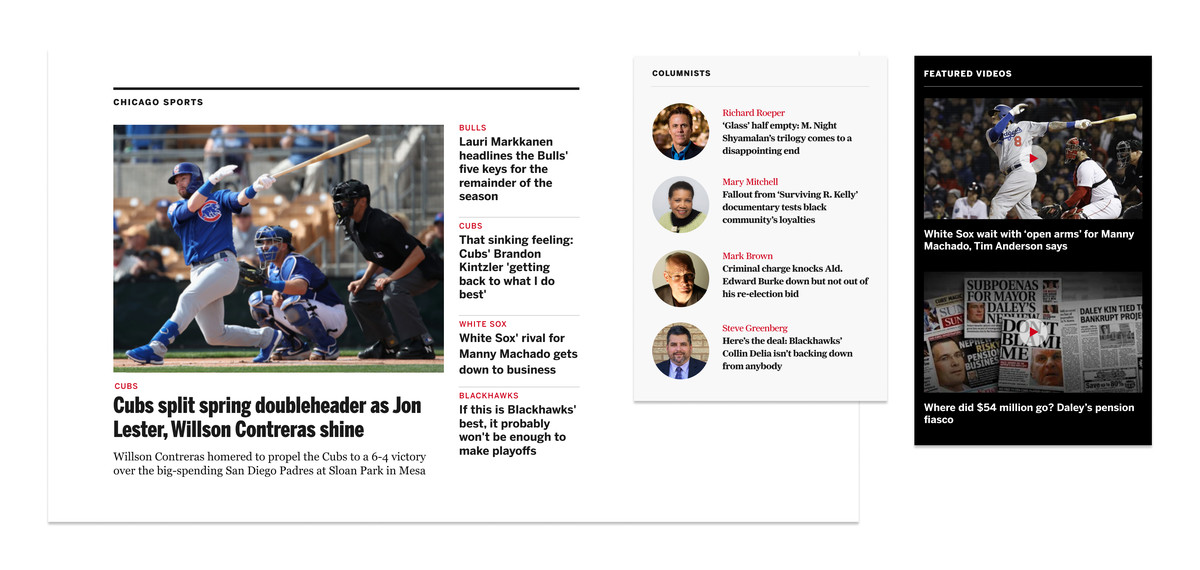 A collage of images from the new website - a sports section with stories, a columnists section with author photos displayed next to stories, and a video section with two videos.