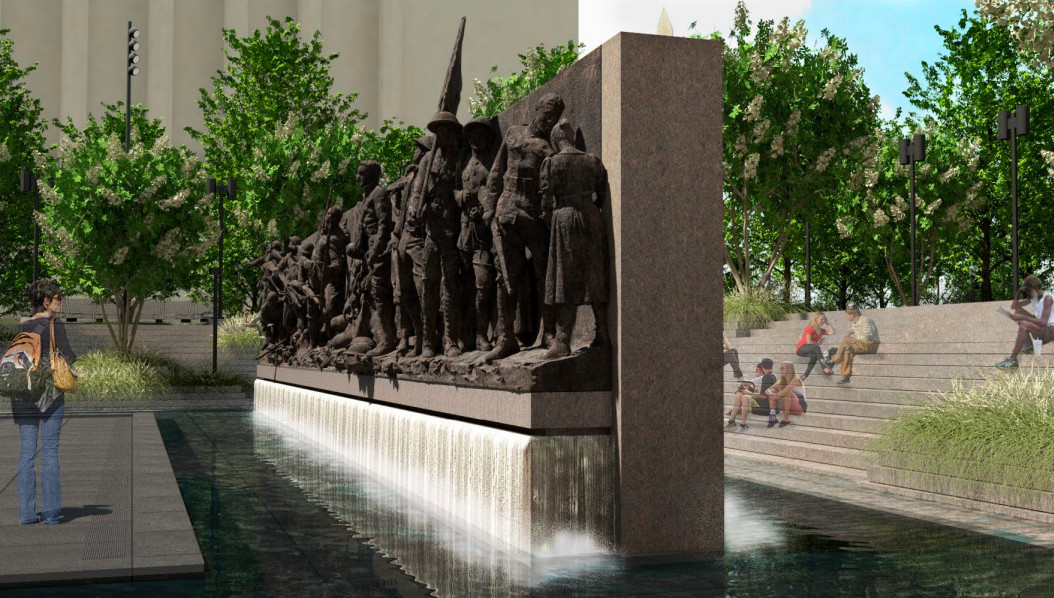 A rendering of a sculptural wall depicting soldiers.