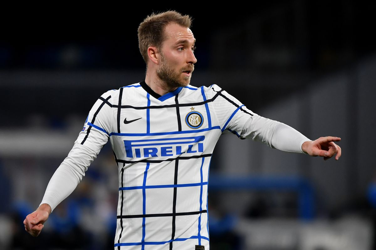 Christian Eriksen of FC Internazionale reacts during the...
