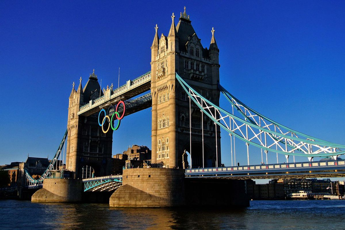 June 29, 2012; London, UNITED KINGDOM; A general view of the Olympic rings logo on the Tower Bridge in preparation for the 2012 London Olympic Games.  Mandatory Credit: Leo Mason-US PRESSWIRE