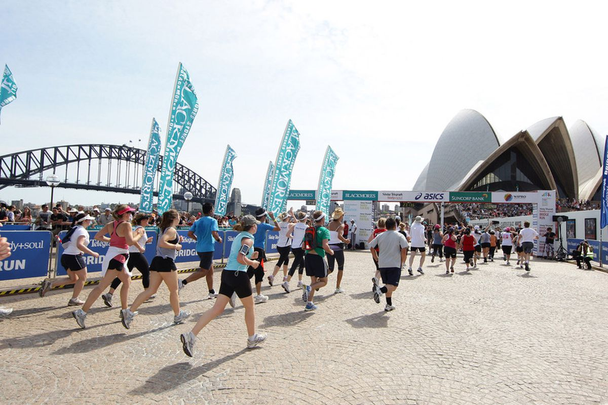 SYDNEY, AUSTRALIA - SEPTEMBER 18:  In this handout image provided by BSRF, Competitors run during the Sydney Running Festival on September 18, 2011 in Sydney, Australia. (Photo by Blackmores Sydney Running Festival via Getty Images)