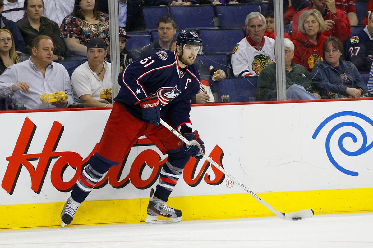 March 20, 2012; Columbus, OH, USA; Columbus Blue Jackets left wing Rick Nash (61) looks to pass against the Chicago Blackhawks during the second period  at Nationwide Arena. Mandatory Credit: Russell LaBounty-US PRESSWIRE