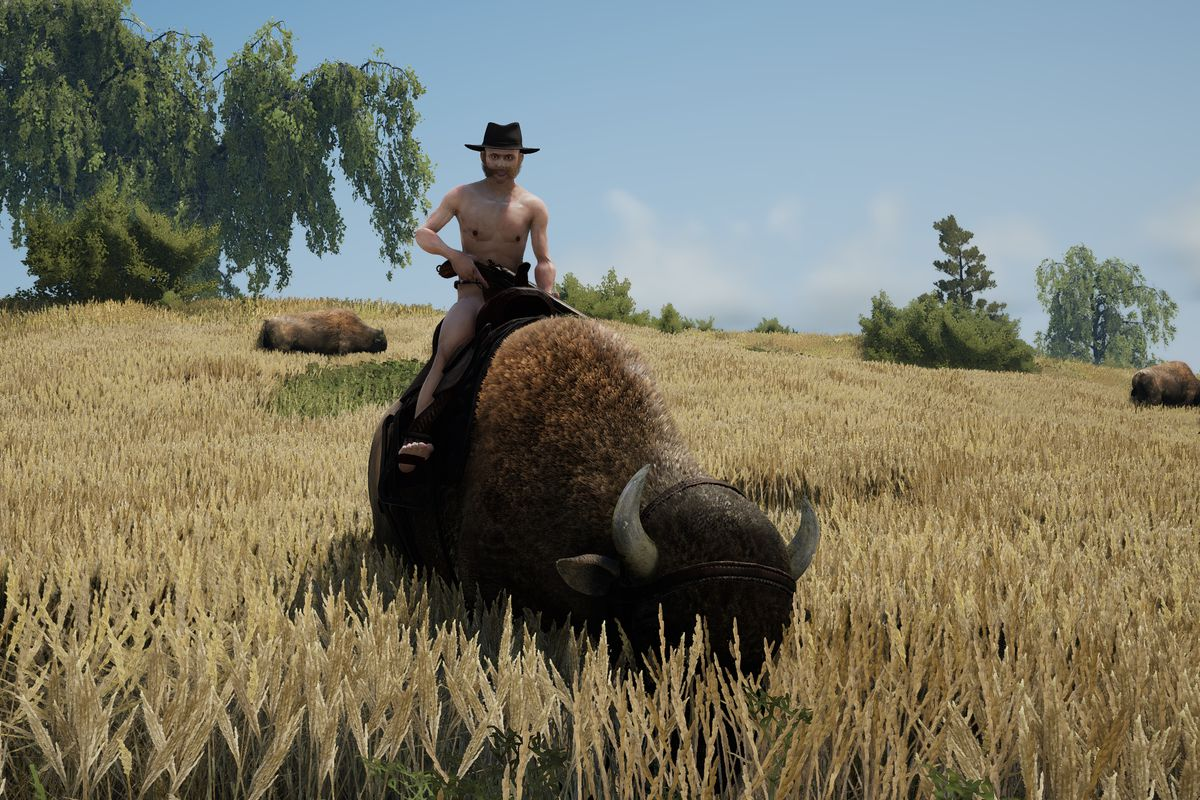 Heat - shirtless cowboy riding a helmeted bison