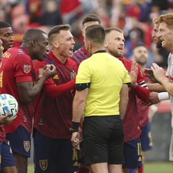 Real Salt Lake players protest a call in Sandy on Saturday, March 7, 2020. RSL tied with New York 1-1.