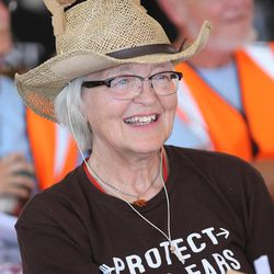 Heidi Brugger of Cortez, Colorado, sits in the overflow area as she and others wait for a meeting with Interior Secretary Sally Jewell in Bluff to begin as they discuss the proposed Bears Ears National Monument in southern Utah on Saturday, July 16, 2016.