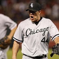 Chicago White Sox starting pitcher Jake Peavy (44) walks off the field shouting in the bottom of the fifth inning of a baseball game against the Texas Rangers, Saturday, April 7, 2012, in Arlington, Texas.