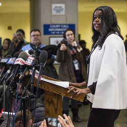 Cook County State's Attorney Kim Foxx speaks to reporters at the Leighton Criminal Courthouse after R. Kelly was ordered held on a $1 million bond. | Ashlee Rezin/Sun-Times