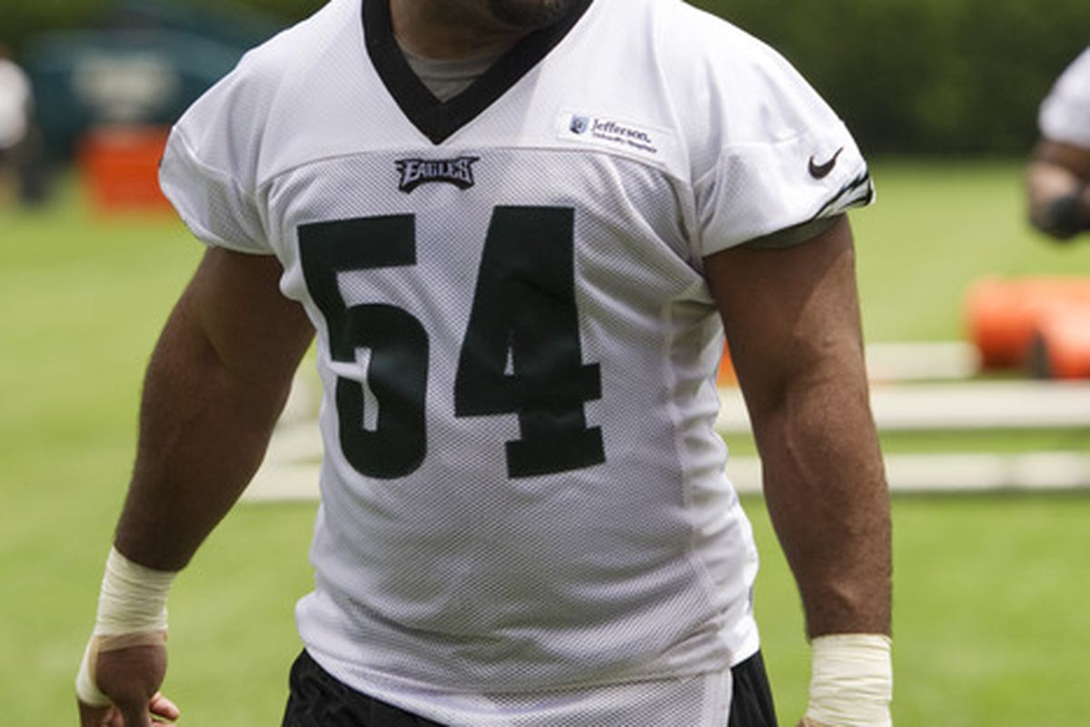 May 22, 2012; Philadelphia, PA, USA; Philadelphia Eagles defensive end Brandon Graham (54) walks off the field after practice during organized team activities at the Philadelphia Eagles NovaCare Complex. Mandatory Credit: Howard Smith-US PRESSWIRE