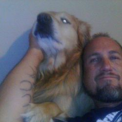 Jeremy Hardman, 47, poses with one of his dogs. Hardman died June 7, 2017, after police say he got into a confrontation with Aaron Hosman, 40, about Hosman's treatment of a dog, leading Hosman to run over Hardman with his car. Hosman has been arrested for investigation of murder.