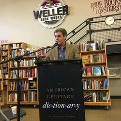 """Rasoul Shams discussing the poet Rumi at a """"Books & Bridges"""" lecture delivered March 11, 2017, at Weller Book Works."""
