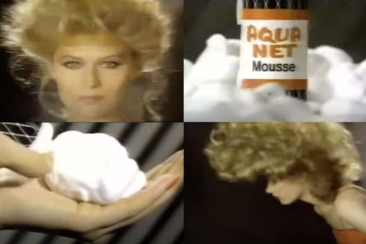 Four panels from a commercial for Aqua Net hair mousse: two show a woman with lots of hair, one shows a hand holding foam, and one shows a can of Aqua Net mousse surrounded by foam.