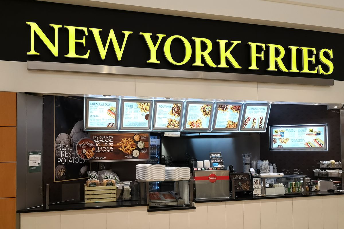 A new york fries counter in a mall.
