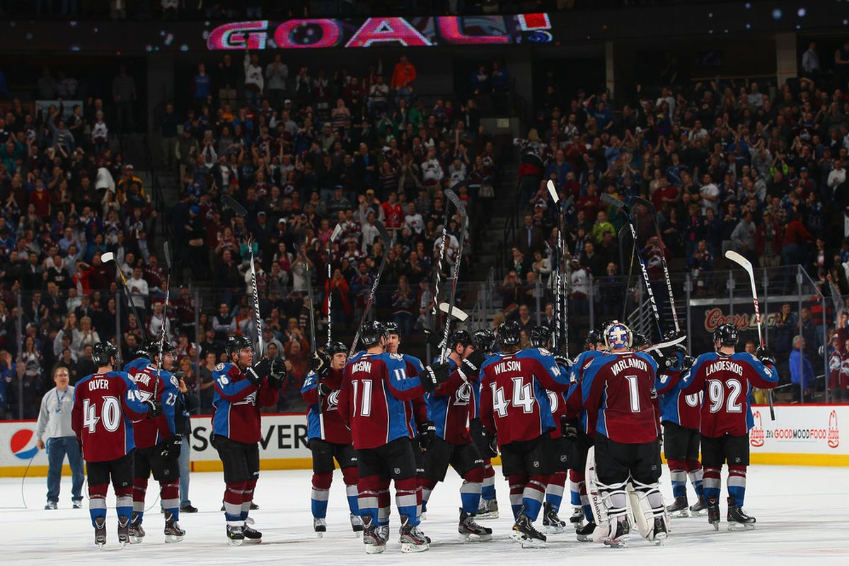 DENVER, CO - MARCH 12:  The Colorado Avalanche celebrate their 3-2 overtime victory over the Anaheim Ducks at the Pepsi Center.  (Photo by Doug Pensinger/Getty Images)