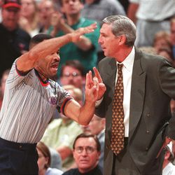 Jerry Sloan gets a technical  foul during Game 6 of the NBA Finals at the Delta Center, June 14, 1998.