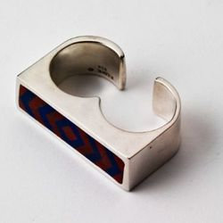 Double-finger inlay ring in sterling, jasper, and lapis.