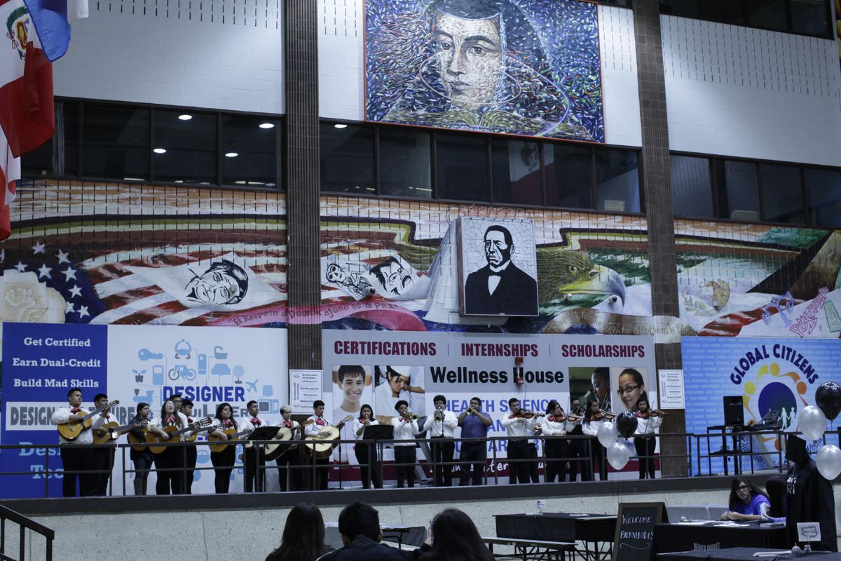 The mariachi band of the Benito Juarez Community Academy plays for the school's Open House event. Juarez offers mariachi as a credit-bearing course.