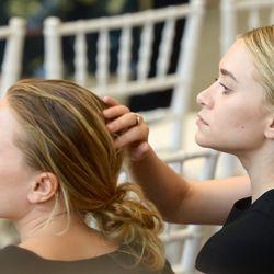 Olsens, with their go-to air-dry hair look.