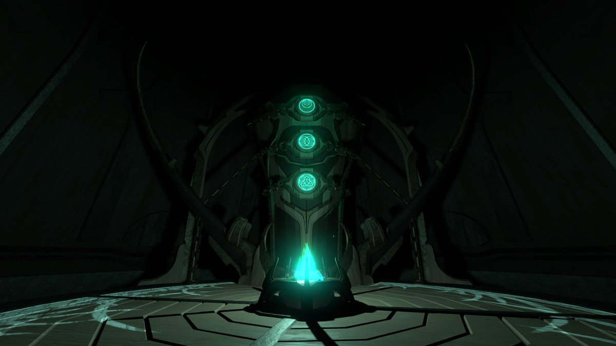A screenshot from Outer Wilds: Echoes of the Eye depicting a mysterious obelisk with three glowing icons, stacked vertically.