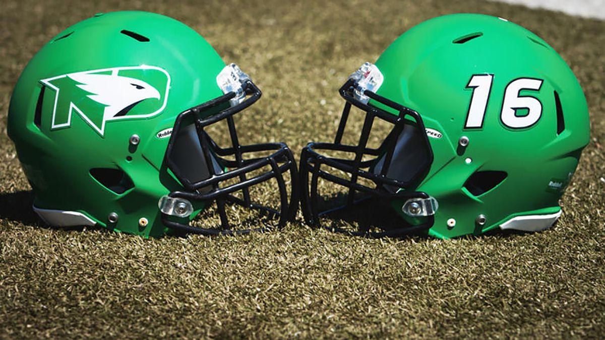 New helmets worn by the 206 North Dakota Fighting Hawks