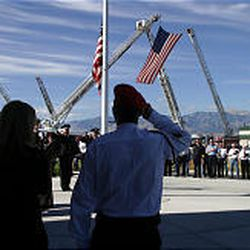 Firefighters and others gather Thursday at the Utah Firefighters Museum and Memorial Complex in Tooele to honor the memory of 343 firefighters killed at the World Trade Center on Sept. 11, 2001.