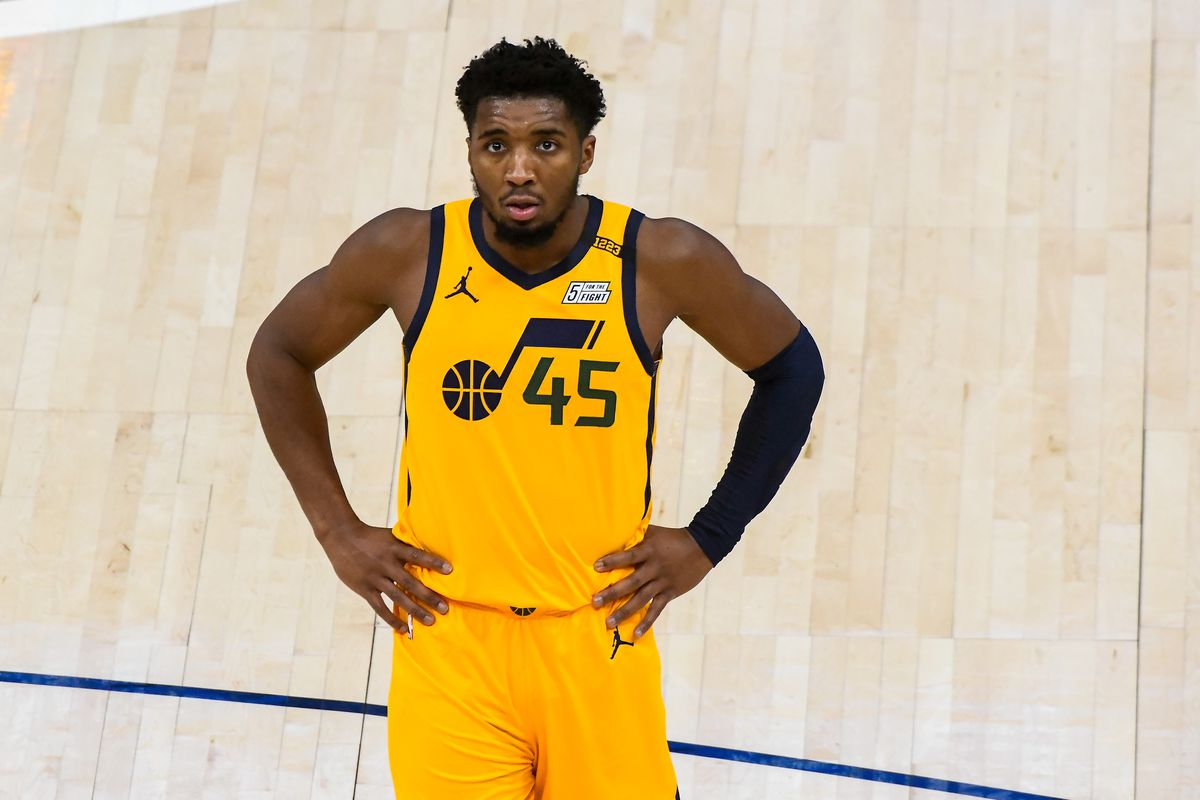 Donovan Mitchell of the Utah Jazz looks on during a game against the New Orleans Pelicans at Vivint Smart Home Arena on January 19, 2021 in Salt Lake City, Utah.
