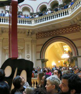 Department of Education employees gathered in the Tweed rotunda to hear their new boss speak.