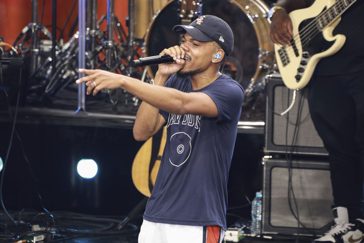 """Recording artist Chance The Rapper performs on ABC's """"Good Morning America"""" at Rumsey Playfield/SummerStage on Friday, Aug. 16, 2019, in New York. (Photo by Jason Mendez/Invision/AP) ORG XMIT: NYJM129"""