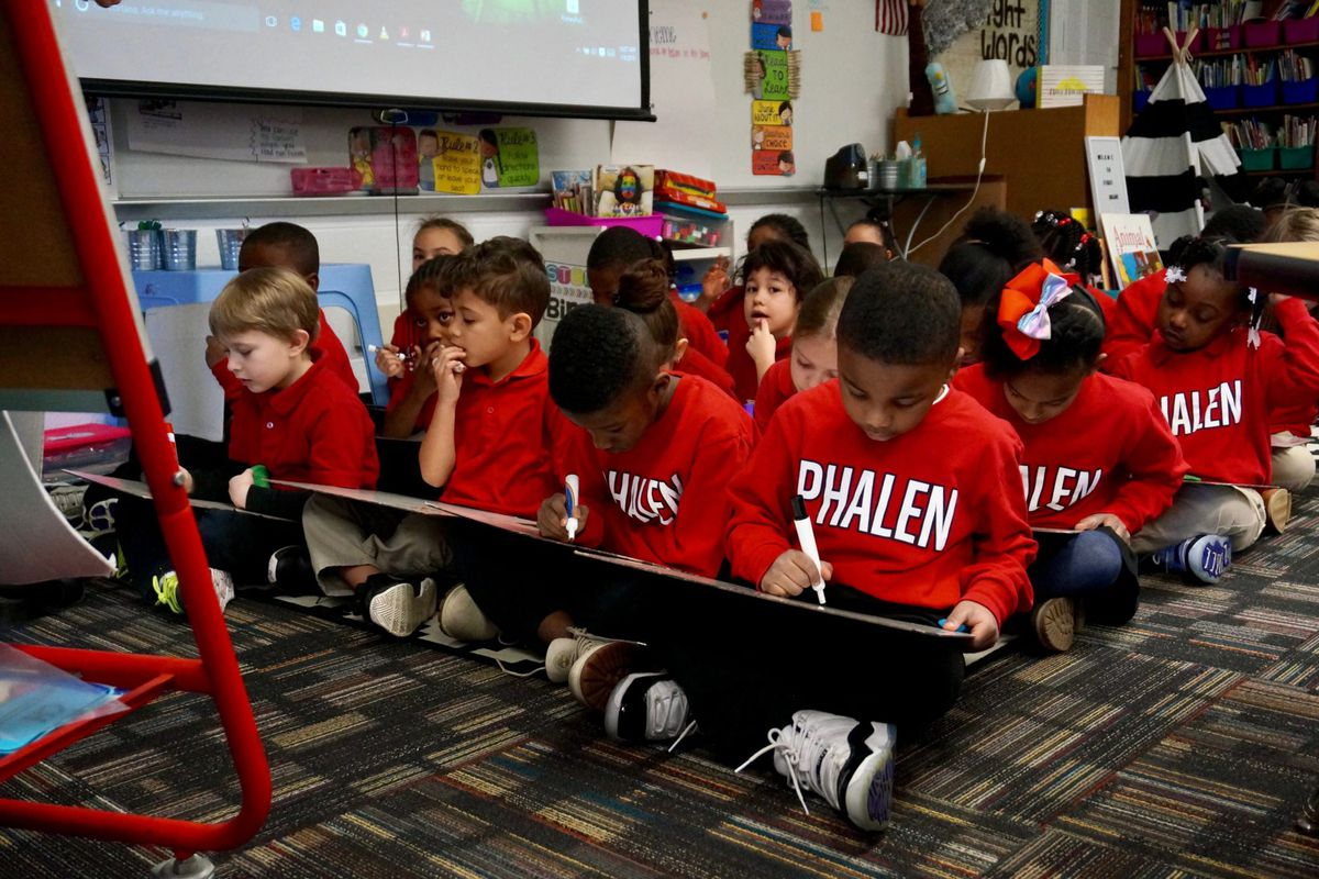 First graders at School 93 learn about the silent e. The school is run by the Phalen Leadership Academies charter network, but it is still considered part of  Indianapolis Public Schools. January 9, 2019.
