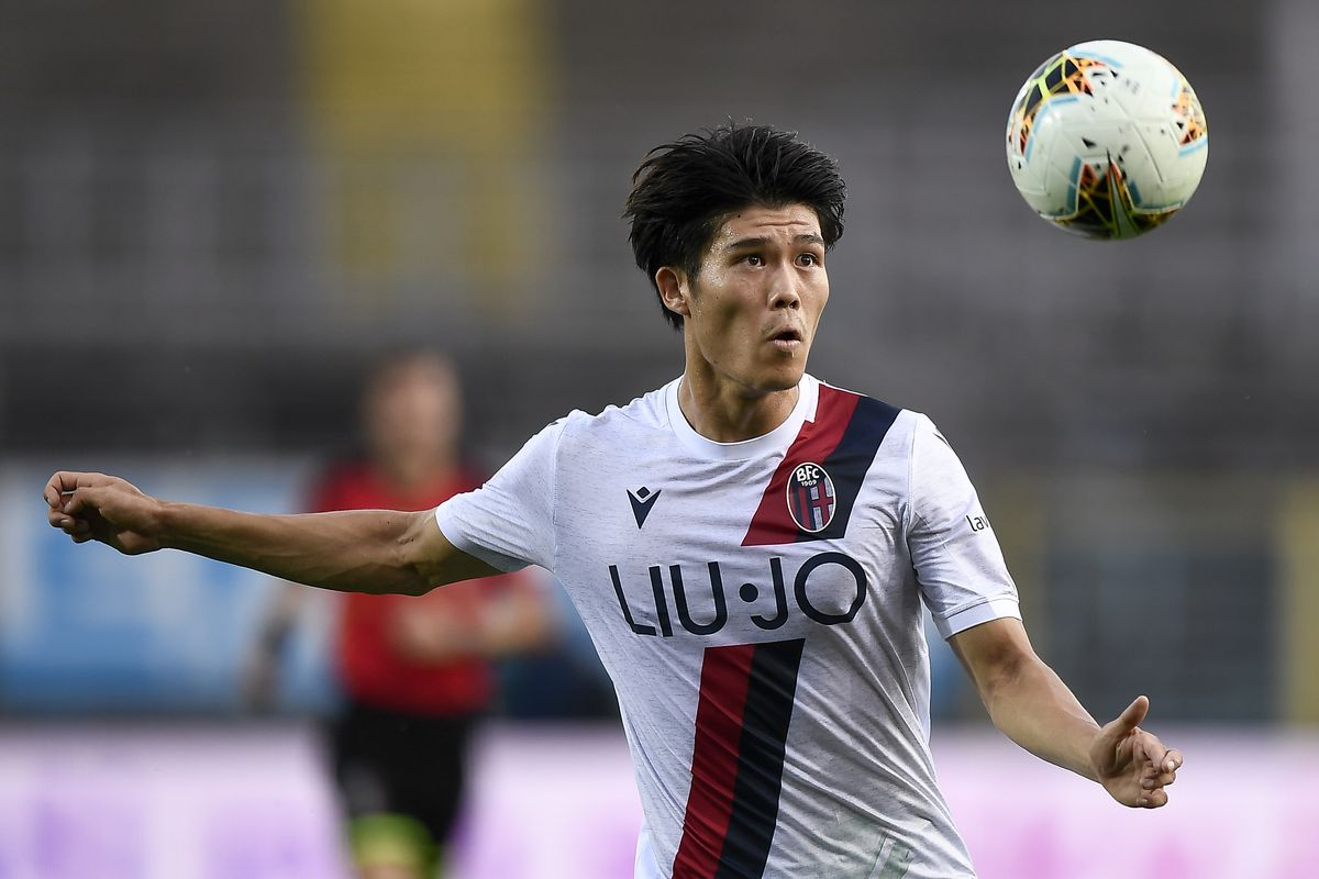 Takehiro Tomiyasu of Bologna FC in action during the Serie A...