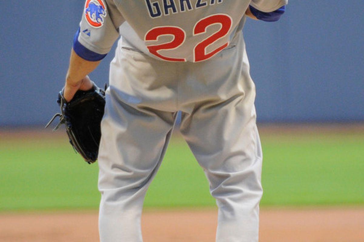 Milwaukee, WI, USA;   Chicago Cubs pitcher Matt Garza during a game against the Milwaukee Brewers at Miller Park. Credit: Benny Sieu-US PRESSWIRE