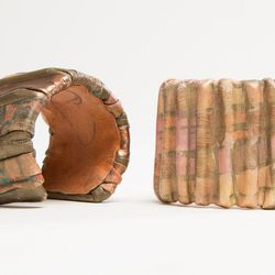 Painted Leather Cuffs (1970's), $195 each.