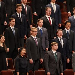 A choir of BYU students performs during the Saturday evening session of the 191st Semiannual General Conference of The Church of Jesus Christ of Latter-day Saints in the Conference Center in Salt Lake City on Saturday, Oct. 2, 2021.