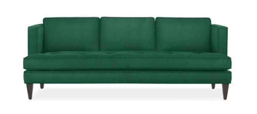 Three-seat emerald green sofa with wooden legs.