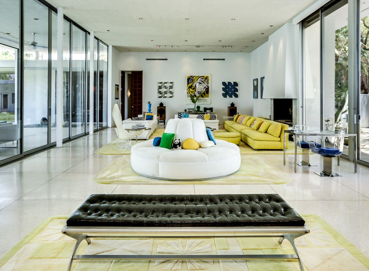 Living area with glass walls