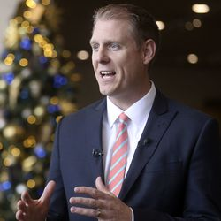 Rich Sutton, director of operations for The Church of Jesus Christ of Latter-day Saints' Temple Department, talks about the upcoming Salt Lake Temple renovations during a press conference at the Temple Square South Visitors' Center in Salt Lake City on Wednesday, Dec. 4, 2019.