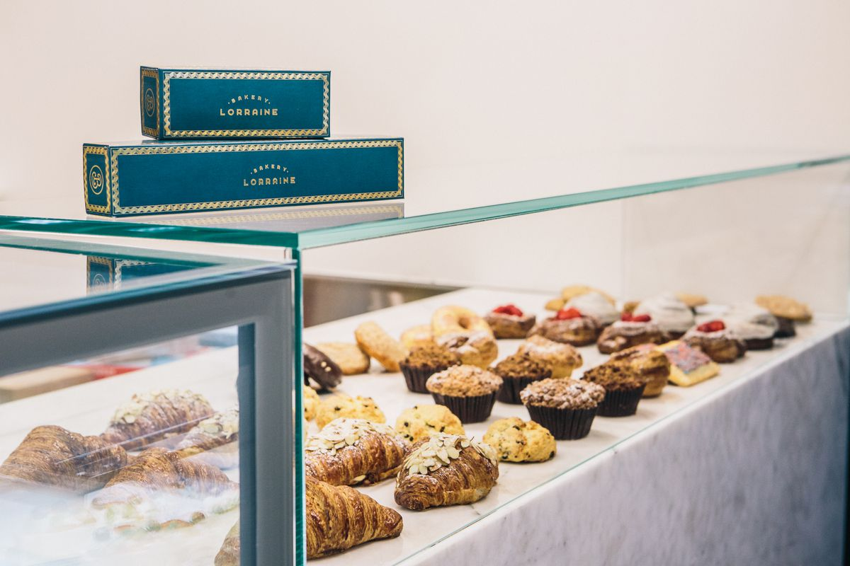 The pastry case at Bakery Lorraine
