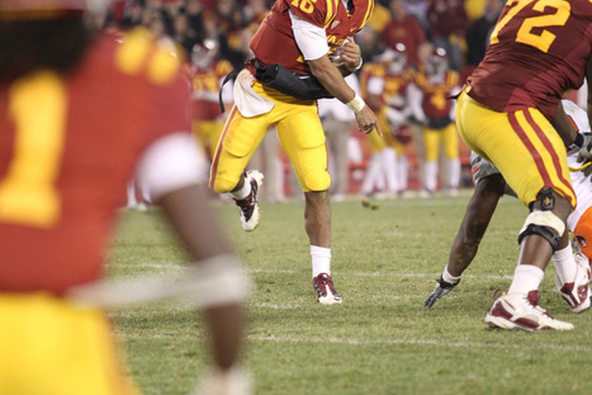 AMES, IA - NOVEMBER 18:  Jared Barnett #16 of the Iowa State Cyclones throws a pass against the Oklahoma State Cowboys in the fourth quarter at Jack Trice Stadium November 18, 2011 in Ames, Iowa.  (Photo by Reese Strickland/Getty Images)