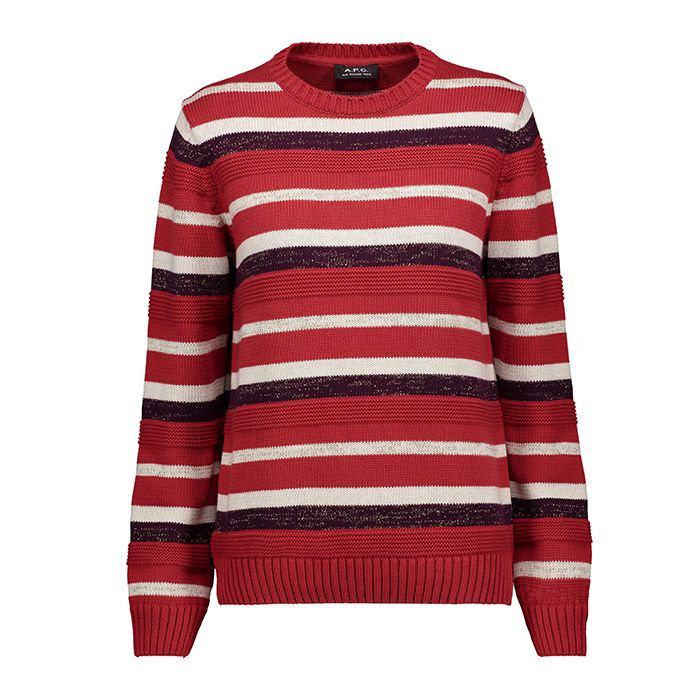 red white and burgundy striped sweater