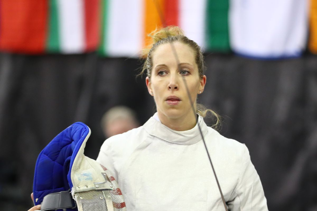 Mariel Zagunis of the USA fences in the final rounds of the Women's competition of the Canadian Sabre Grand Prix on January 12, 2020 at the IGA Stadium in Montreal, Quebec.