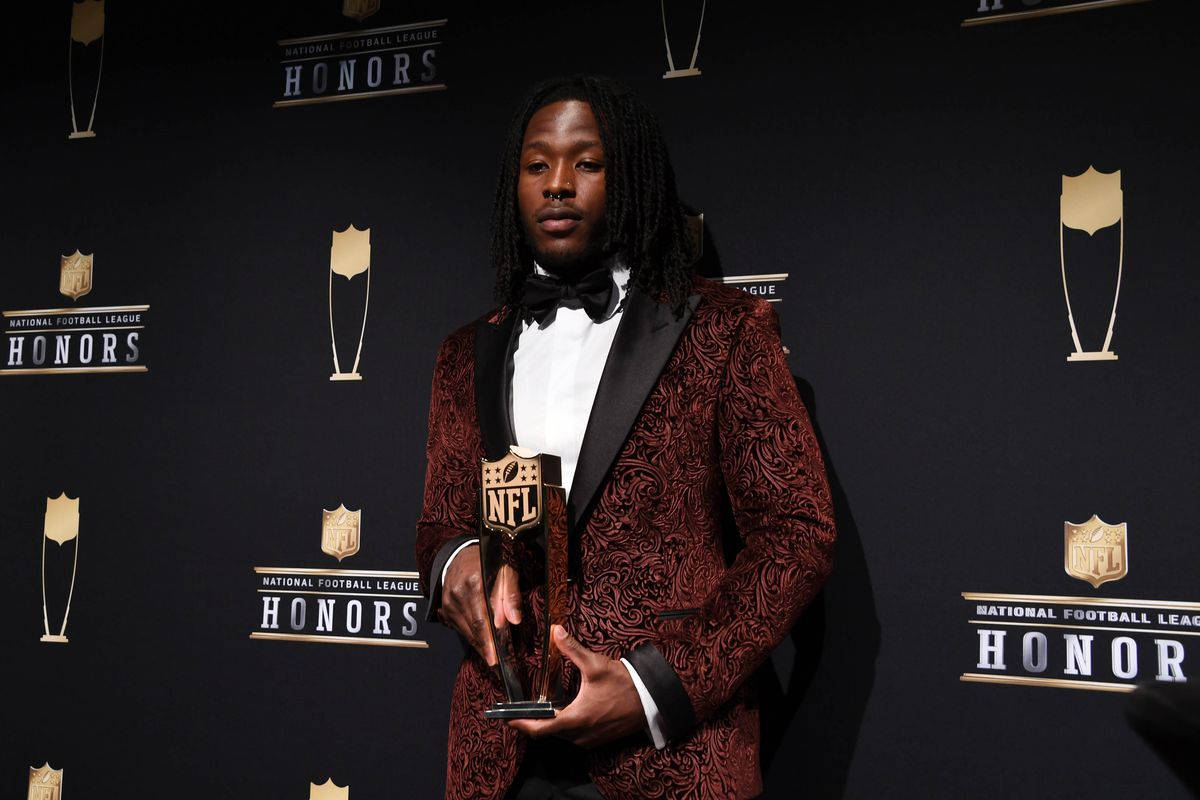 Minneapolis, MN - Offensive Rookie of the Year winner Alvin Kamara of the New Orleans Saints during media availabilities during the NFL Honors show at Cyrus Northrop Memorial Auditorium at the University of Minnesota.