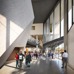 A rendering of the redesigned north lobby planned for the Steppenwolf renovation. | Adrian Smith + Gordon Gill (provided)