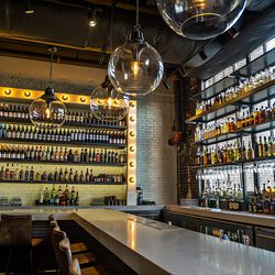 Loads of choices for booze can be readily seen from the bar at Biltong Bar.