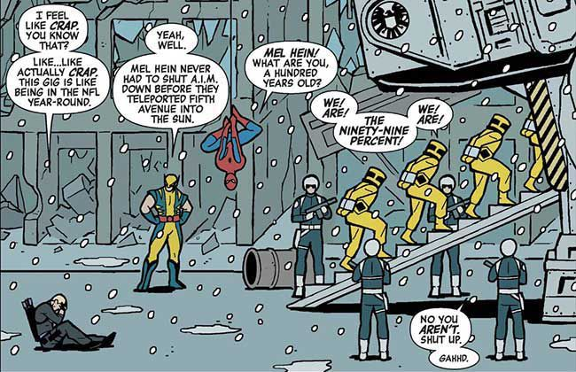 Hawkeye, Wolverine, and Spider-Man chat as defeated AIM henchmen, in their yellow beekeeper-like hazmat suits, are marched into a transport by SHIELD agents in Hawkeye, Marvel Comics.