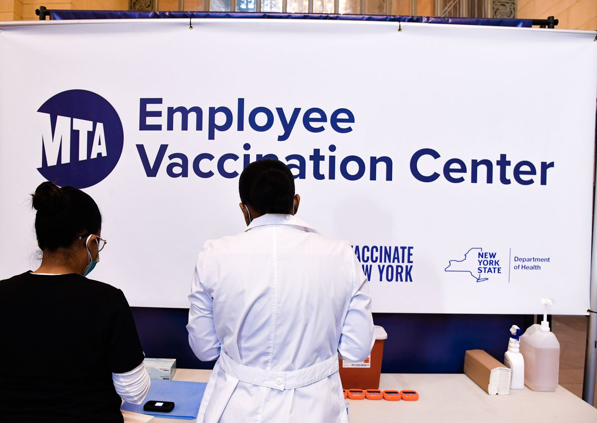 An MTA vaccination center in Vanderbilt Hall at Grand Central Terminal, March 9, 2021.