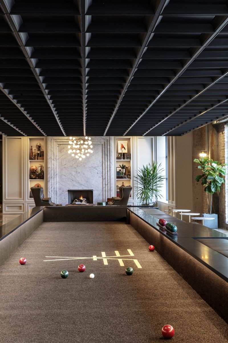 A bocce court inside a lounge at the Old Post Office, 433 W. Van Buren St.