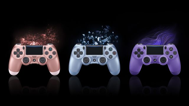 An image of three DualShock 4 controllers in rose gold, titanium blue, and electric purple on a black background