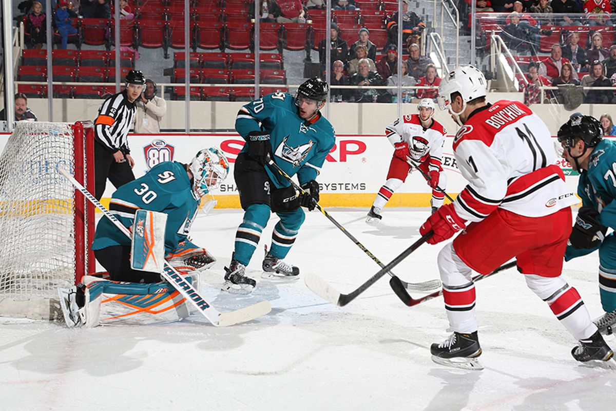 San Jose Barracuda goaltender Aaron Dell is beat for a 5-on-3 power play goal by Charlotte Checkers forward Zach Boychuk in the first period of Tuesday night's game. (SJBarracuda.com)