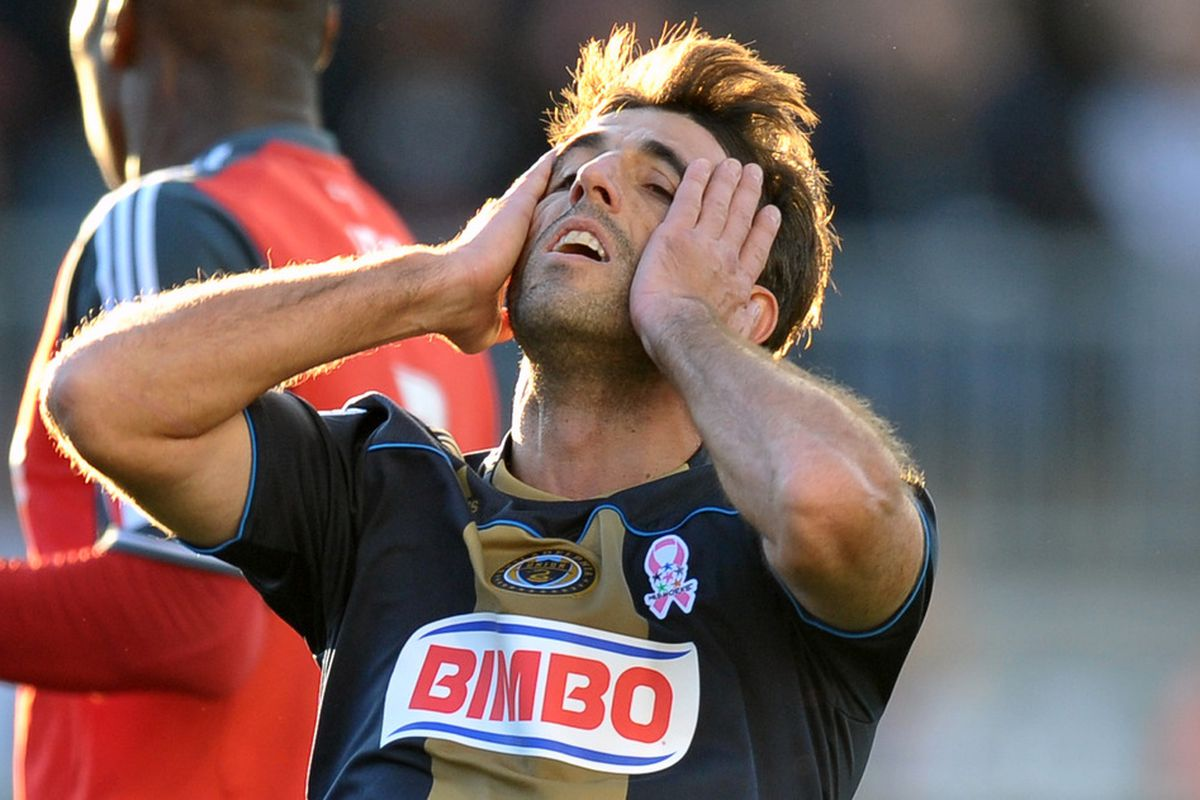 CHESTER, PA- OCTOBER 15: Veljko Paunovic #16 of the Philadelphia Union reacts to a missed shot during the game against Toronto FC at PPL Park on October 15, 2011 in Chester, Pennsylvania. The game ended 1-1.  (Photo by Drew Hallowell/Getty Images)