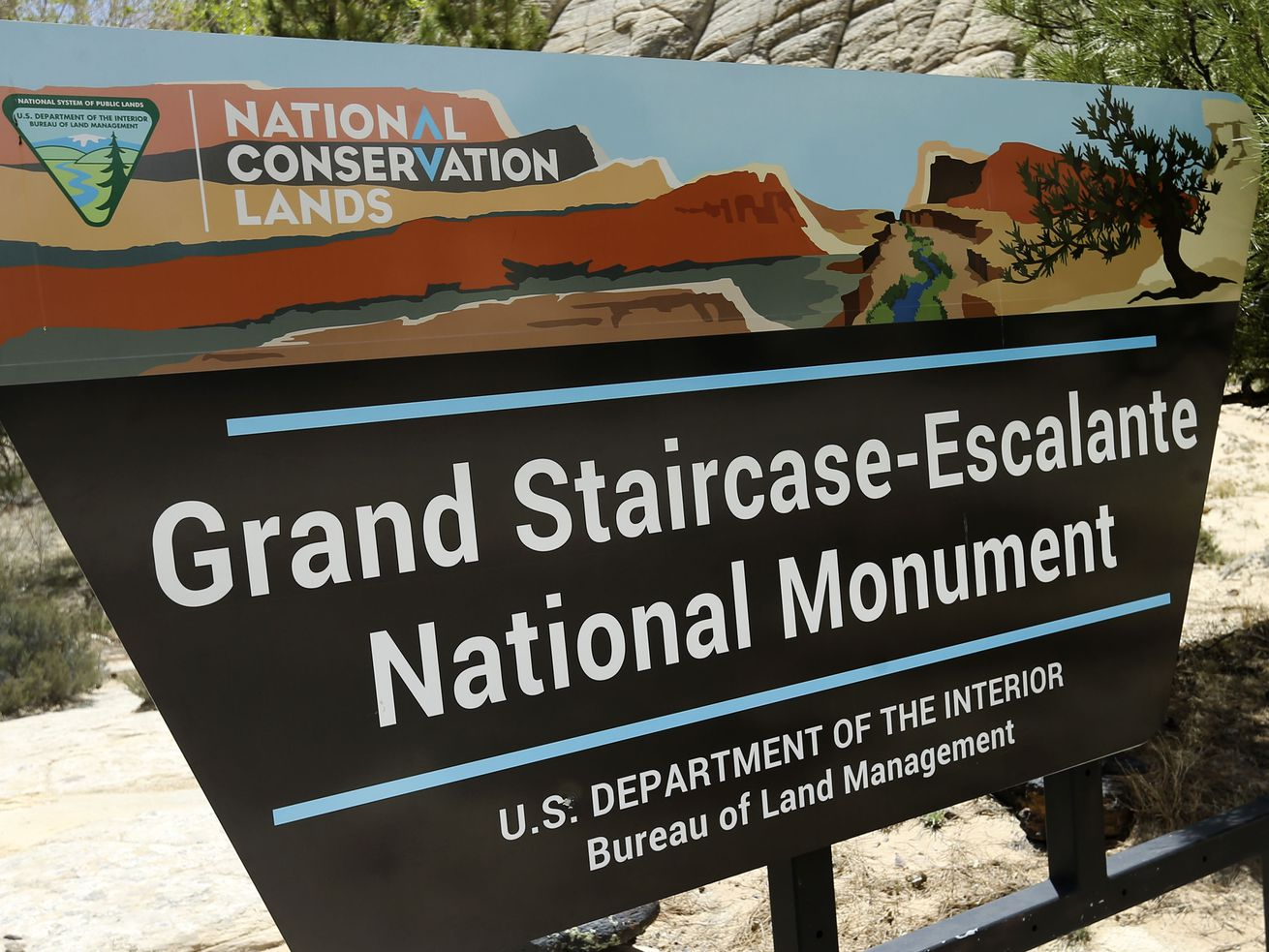 A sign at entrance of the Grand Staircase-Escalante National Monument